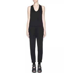 T By ALEXANDER WANG Women's Black Sleeveless Jumpsuit Overalls Size Small
